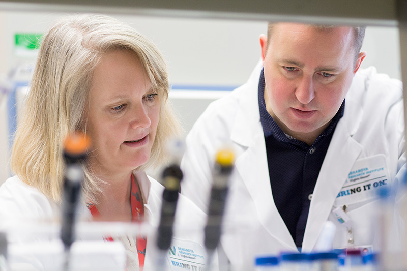Mary Farrington, MD, a Virginia Mason allergist and clinical researcher helps BRI principal researcher Erik Wambre, PhD, make allergy research breakthroughs.