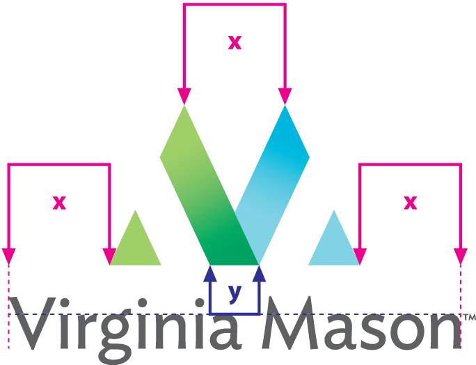Virginia Mason vertical logo proportion and spacing