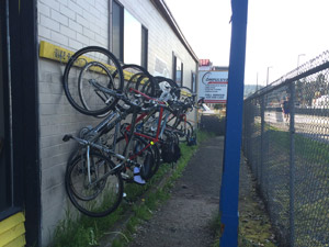 Bikes stopped at a brewery along the Burke-Gilman trail … typical Seattle.