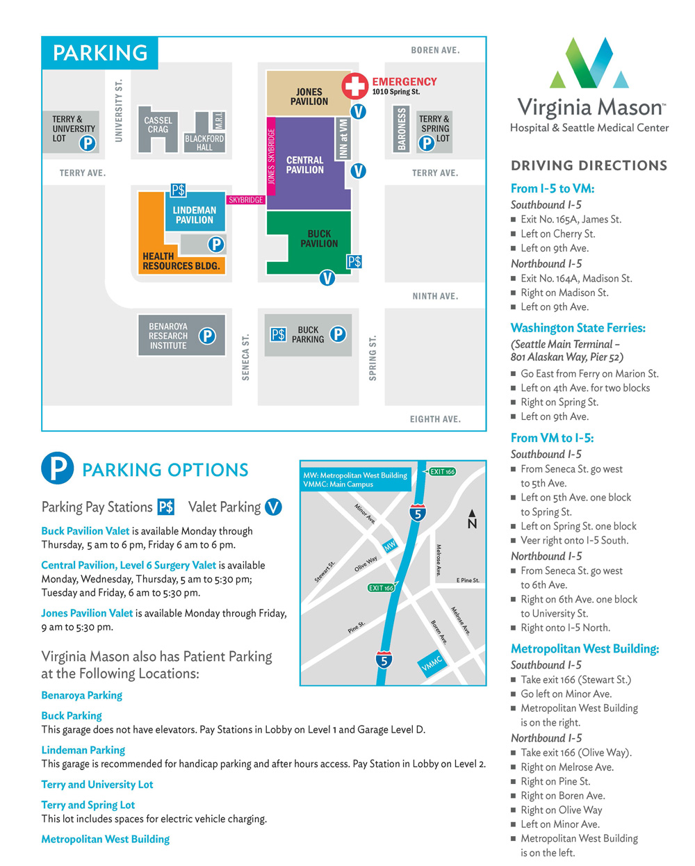 Virginia Mason Patient Parking Valet Parking Parking Garages