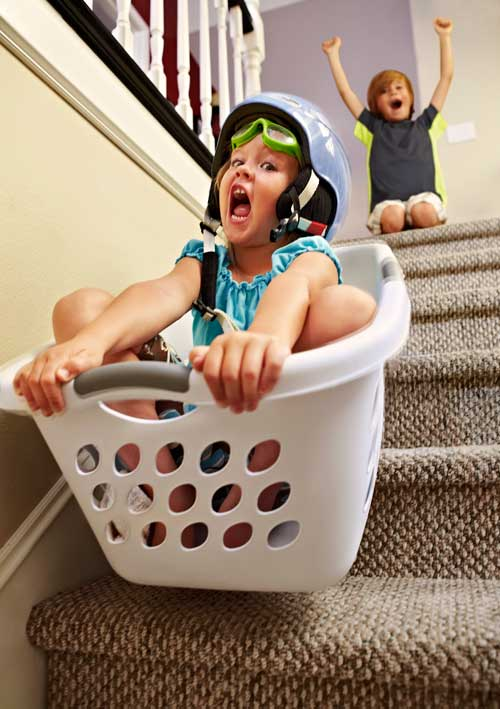 Kids playing down stairs